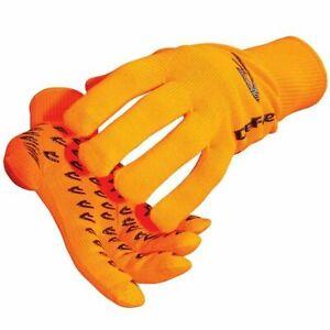 New DeFeet Duraglove ET Cycling Full Finger Gloves - Orange / Black - Small