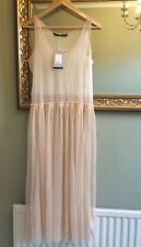 Zara Tulle robe sans manches rose pâle Taille S Bnwt