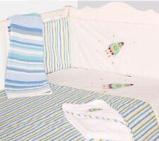 Baby Nursery Cot 2Pc Quilt & Bumper Bedding Bale Set Blue Rocket