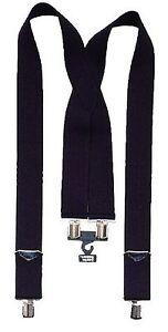 """black suspenders 2"""" Wide Black Pants Suspenders Metal Hardware black 4196"""