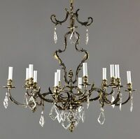 French Rococo Bronze & Crystal Chandelier c1930 Vintage Antique Brass Ceiling