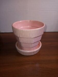 Vintage Pink Mccoy Pottery Basket Weave 4 Inch Tall