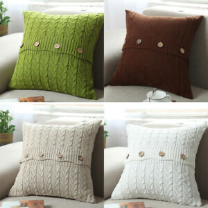 Cotton Knitted Cushion Pillowcase Sofa Bed Buttons Throw Waist Cover Pillow Case
