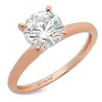 2ct Round Cut Classic Engagement Bridal 4-prong Solitaire Ring 14k Rose Gold