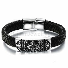 Biker Mens Bracelet Celtic Cross Totem Stainless Steel Leather Braided Wristband