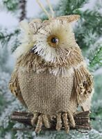 GISELA GRAHAM CHRISTMAS BRISTLE OWL ON TWIG DECORATION
