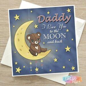 "Personalised Birthday Card ""To The Moon"" ANY NAME Mummy Mum Daddy Dad Nanny Nana"
