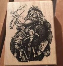 New Psx Thomas Nast Merry Old Santa Claus Rubber Stamp On Wood F301 1992