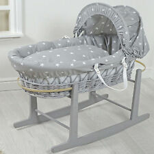 NEW 4BABY GREY WHITE STARS GREY WICKER PADDED BABY MOSES BASKET & ROCKING STAND