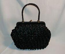 Granny Pocketbook - black crochet raffia vintage snap-top purse made in Japan