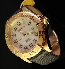 NEW INVICTA MENS SWISS 18K GOLD PLATED WHITE M.O.P. W GREY TEXTURED LEATHER BAND