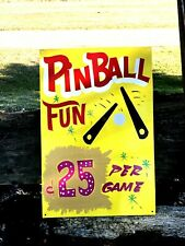 Vintage Carnival PINBALL ARCADE Sign Circus Amusement Park GAME Hand Lettered