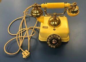 VINTAGE FRENCH STYLE ROTARY PHONE, BAKELITE & BRASS