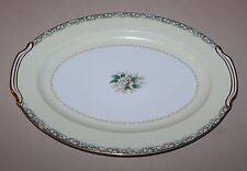 """16"""" Oval Serving Platter Noritake Mystery #14 Tray White Rose Leafy Band Cream"""