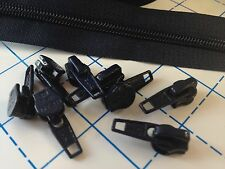 BLACK #5 Zippers By The Yard - 15 yards & 50 short pulls