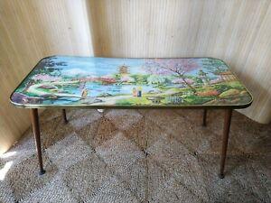 Fab Vintage Retro 1960s Kitsch Japanese Scene Coffee Side Table Dansette Legs