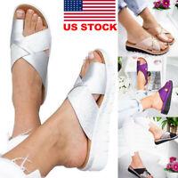 Women's Summer Comfy Platform Sandals- LEATHER Beach Shoes- Bunion Corrector