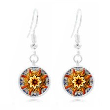 Natural Mandala Tibet Silver Dome Photo 16MM Glass Cabochon Long Earrings #335