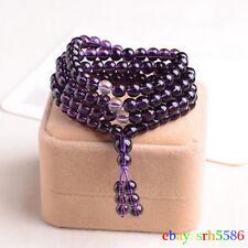6mm Stone Buddhist Amethyst 108 Prayer Beads Mala Bracelet / Necklace man women