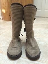 MukLuks Sweater Boots Women's Size 6 Lace-up Brown Worn Twice!