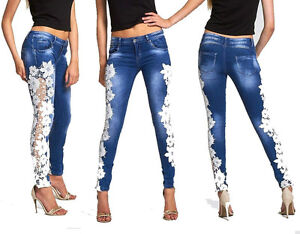 New Womens Ladies Stretch Crochet Side Lace Skinny Fit Denim Jeans Sizes 6 to 14