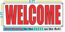 Red & White WELCOME Banner Sign NEW Larger Size Best Quality for the $$$