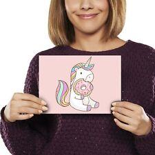 A5 - Cute Pink Unicorn Donut Horse Girls Print 21x14.8cm 280gsm #8840