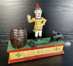 Vintage Cast Iron 'TRICK DOG' Money Box - Working Well - Missing Hoop! Antique