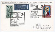 Erstflug Salzburg Frankfurt DC-9 Austrian Airlines Neujahr Luftpost Brief (A1795