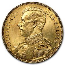 1914 Belgium Gold 20 Francs Albert I AU (French Inscription) - SKU #93606