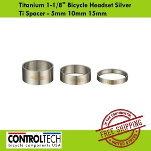 """Controltech Titanium 1-1/8"""" Bicycle Headset Silver Ti Spacer - 5mm 10mm 15mm"""