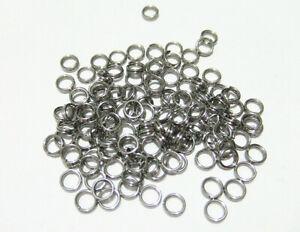 100 pz anellini in acciaio inox doppio giro colore argento scuro  5mm ,bijoux