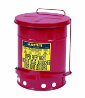 Trash Can Bin For Auto Mechanic Shop Oil Fuel Dirty Rag Towel Foot Lever Lid NEW