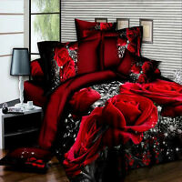 4pcs 3D Rose King Size Bedding Complete Set With Cover Pillow Cases Fitted Sheet