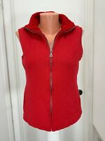 Coldwater Creek Womens s small Vest Red Faux Fur lined  Zip cotton polyester