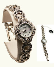INFINITY:WOMENS' STERLING SILVER 925 FULL STONES MARCASITE ANALOG QUARTZ WATCH