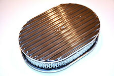 "15"" Polished Aluminum Nostalgia Full Finned Oval Air Cleaner street rod filter"