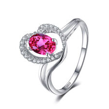 Pink Sapphire & Cubic Zirconia Heart Ring Solid 925 Sterling Silver Size 7 Gift