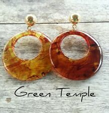 GORGEOUS TORTOISE SHELL STYLE CLEAR RESIN  HOOP ROUND VOGUE  STATEMENT EARRINGS