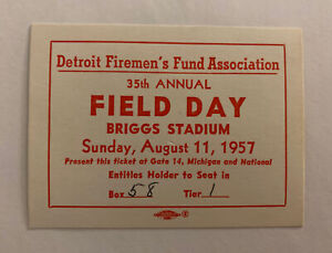 Vintage 1957 Field Day pass Detroit Tigers
