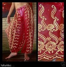 Harem Pants Belly Dance Red w/ Gold Brocade Slit 2