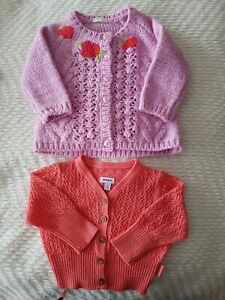 2 cute baby girls Cardigans small 3-6 months size mexx coral bnwt Benetton pink