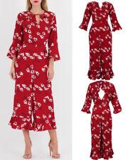 New Women Floral Print 3/4 Sleeves Side Pocket Keyhole Jumpsuit Dress UK