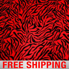 "Fleece Fabric Zebra Red with Black 60"" Wide Free Shipping Style PT 905"