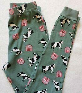Leveret Kids Size 14 Boy Girl Pajamas Cow Barn Farm Green 100% Cotton Pants