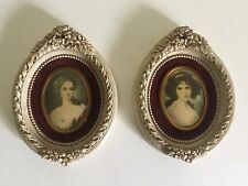 PAIR OF 2 VINTAGE MINIATURE FLORENTINE FRAMED PORTRAIT PRINTS MADE IN ITALY