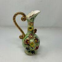 Vintage Decorative Stylish Ceramic Flower Vase Urn Pitcher w/Floral Design 9 in