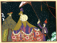 1930s French Pochoir Print Edouard Halouze Art Deco Princess Prince Fairy Tales