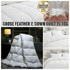 Goose Feather & Down Duvet Quilt Cover Extra Soft Warm Luxury Bedding 15 Tog