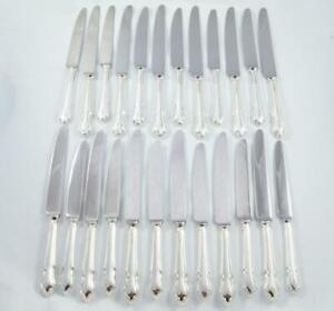BRILLIANT DUBARRY PATTERN 12 DINNER & 12 DESSERT KNIVES STERLING SILVER 1977